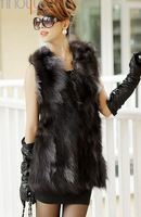 2013 winter women's real natural silver fox fur vest outerwear coats overcoat long style fashion waistcoat