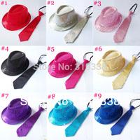 Kids fedora hat with necktie Boys girls fedoras with Sequins decoration Hat with tie set for Children Unisex 10set/lot BH236B