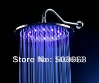 New 8'' LED Shower Faucet Chrome Brass Mixer Tap Shower Head With Shower Arm L-1581