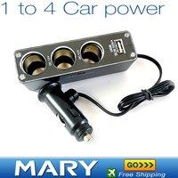 HOT! 3 Way Car Cigarette Charger Socket Adapter+USB,Freeshipping