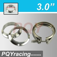 "J2 Racing Store- 3"" V Band clamp flange Kit (Stainless Steel 304 Clamp+SUS304 Flange) For turbo exhaust downpipe"