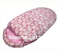Autumn/spring adult beer barrel sleeping bag with pink & blue color in nice design