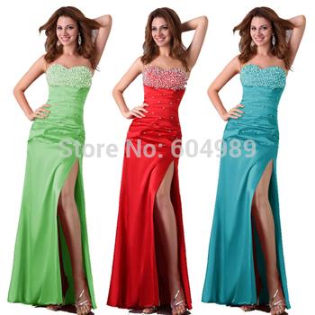 Grace Karin Women Sexy Slit Green,Blue, Red Long Evening gowns Stunning Strapless Slim Formal Party Dancing Dress Satin 2588