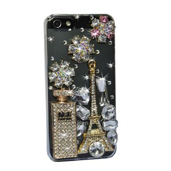 New 100% Unique Design Perfume Bottle Eiffer Tower Flower Bling Diamond Crystal Hard Case for iPhone 5 5G