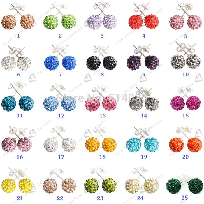 Stud Earrings Clay Disco Balls Crystal 10mm Shamballa Earrings 100pcs/lot wholesale earrings for women(China (Mainland))