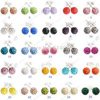 Stud Earrings Clay Disco Balls  Crystal 10mm Shamballa Earrings 100pcs/lot wholesale earrings for women
