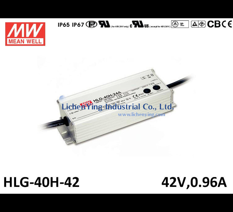 Mean Well 40W 0.96A 42V LED Power Supply Dimming function waterproof LED Driver HLG-40H-42 pwm 1~10Vdc dimmable led drivers(China (Mainland))