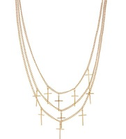 NS003  Multi layer chain gold cross necklace chain Fashion short design necklaces for women  TDD-4.99