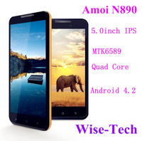 2013 SG post free! Amoi N890 5 Inch IPS Capacitive Touch Screen mtk6589 Quad Core android 4.2 smartphone GPS Russian /Emma