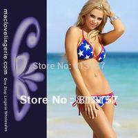 Cheap Price Free Shipping White Star Print Sexy Bikini Set 2014 New Fashion Beachwear ML37022 Blue Swimming Suits For Women