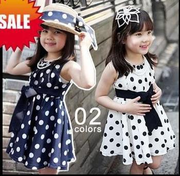 Navy Polka  Dress on Summer Sleeveless Polka Dots Dress Kids Dot White Black Navy Dresses