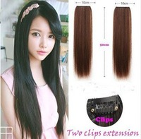 2013 Hot 1piece women's hair extensions 2 clip on in hair straight hairpiece fashion style synthetic hair