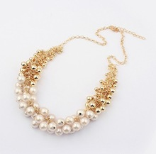 Min.order is $10 (mix order),Korean jewelry fashion all-match golden pearl multi-element fashionista necklace.