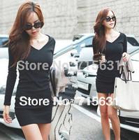 Women's Long Sleeve V-Neck Grinding Wool Cotton Long-Sleeve Dress, Casual Dresses 2014 Fashion Black Dress