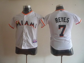 Free shipping! wholesale Kid MLB jersey 2012 Florida Marlins 7# REYES white and orange young jerseys