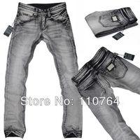 D 2014 Mens Jeans Brand Metal Logo Retro Design Wash Jeans Pants Straight Gray Denim Jeans Wear Men Free Shipping