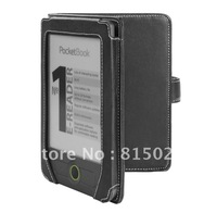 1pc free shipping Black PU leather cover case for Pocketbook 611 eBook Reader(Book Style)