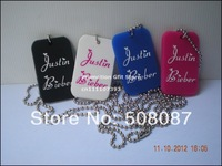 "Justin Bieber Dog Tag Necklace, I Love JB Dog Tag with 24"" Ball Chain, Custom Design are Welcome, 50pcs/Lot, Free Shipping"