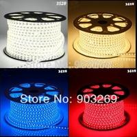4W/M 10M 3528 LED Strip  IP66 Waterproof 220V 60LEDs/M 1200 LED White/Blue/Green/Red/Yellow LED Light Strip + Controler