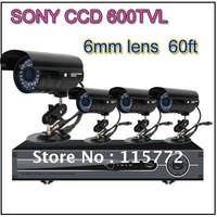H.264 4CH Channel Video Network DVR 4PCS SONY CCD 600TVL Waterproof CCTV Camera Security System via DHL Free Shipping