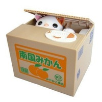 Free shipping Automated cat steal coin piggy bank,kitty saving money box new year gift