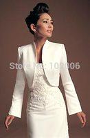 2014 Real Photos Popular Hotsale Wedding Accessories Match Dress Long Sleeve Satin Bolero Jacket custom madeJA008 free shipping