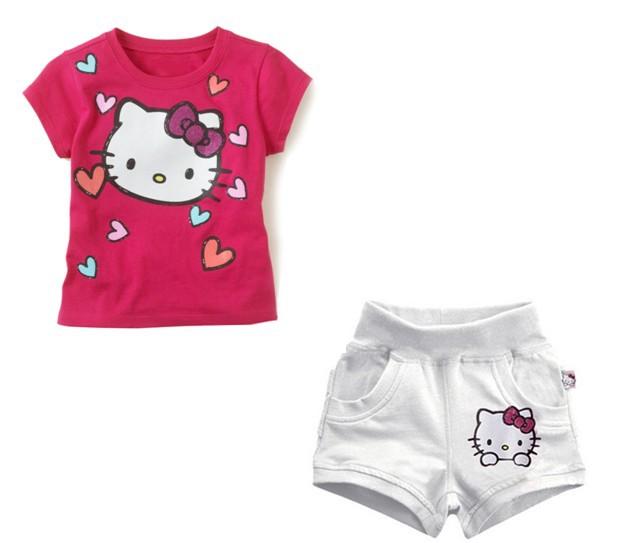 NEW Free shipping children (5pcs/1lot)girls clothing100% cotton fashion short sleeve t shirt+pants hello kitty clothes(China (Mainland))
