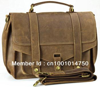 Free shipping Vintage Style Mens Real Leather Briefcase Shoulder Bag Satchel 13''Laptop Case  1007