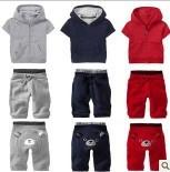 TOP hot  New GAPS*S kids Short-sleeved jacket + pants 2 pcs set Children's sports suit brands Bear suit Free shipping