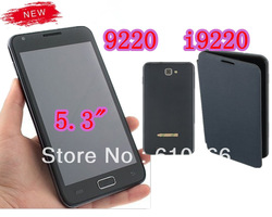 "Free Shipping 5.3"" Touch Screen Quad Band Dual SIM FM Mobile Phone I9220 9220(China (Mainland))"