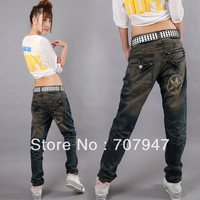 Free shipping 2015 Fashion baggy jeans personality harem jeans women  plus size harem pants jeans loose hiphop jeans