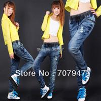 Free shipping 2015 elastic waist denim jeans trousers Plus size baggy jeans woman loose hole jeans harem pants woman  Wholesale