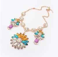 Free Shipping Min.order is $15 (mix orderNew Arrival Hot Sale Exaggerate Colorful Stone Luxury Necklace