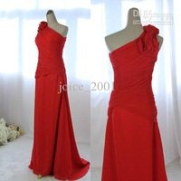 Actual picture A-line One-Shoulder red Chiffon prom dress court train party gown ACT060