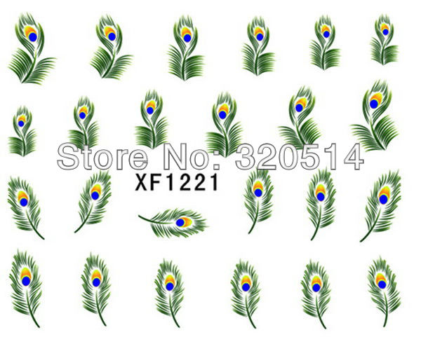 Free Shipping 50pcs Nail Art Wrap Water Transfer Decals Peacock Eye Colorful Feathers Minx Style Nail Stickes MM-22-02(China (Mainland))