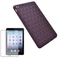 High Quality Soft Silicone Case Skin + Screen Protector For Apple iPad Mini Silicon Case - Purple