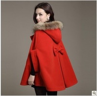 free shipping Hot Cashmere wool autumn and winter Women wool coat cloak overcoat fur collar cloak woolen outerwear cape