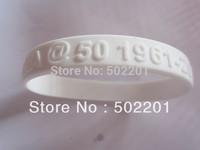 Free shipping!!!! Custom EMBOSSED Silicone Wristbands/Bracelets