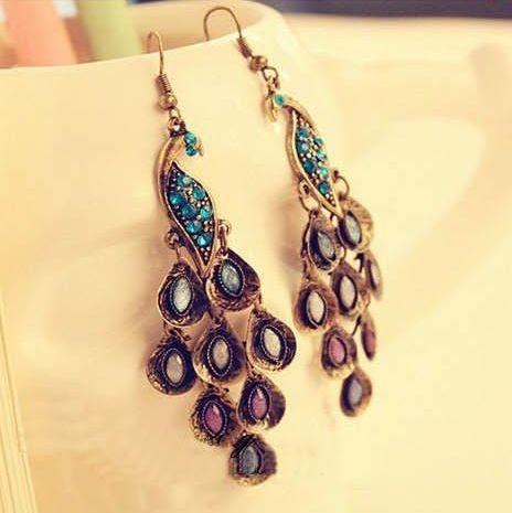 Free shipping Fashion retro beautiful blue peacock long Tassel earrings jewelry for women 2014 wholesale PT31