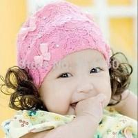 Fashion Princess Headband Bows Pink Lace Hair Bands Cute Girls Hair Decorations Christmas Hairbows 1pcs free shipping