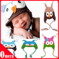10pcs Babies' Lovely Hat Handmade Knitted Crochet Baby Hat Various Animal Styles Baby Owl Beanie hat Kids Flower Cap Head Wrap