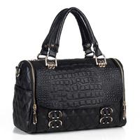 BEST-SALE high quality freeship WEIDIPOLO brand Fashion vintage women  leather handbag black classic plaid bags Promotion