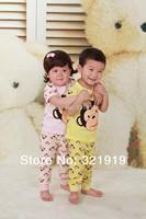 meninas Summer new baby unisex kids suit cotton causal pijamas children clothing set wholesale sleepwear two pieces sets