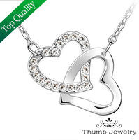 JS N024 Double Heart Necklace CZ Diamond Jewerly Fashion Necklaces For Women 2014 Boxing Day Gifts Colares Femininos Cute Joias