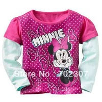 New arrival Free shipping Baby girl  long sleeve T-shirt, long sleeve Tee with minnie pattern,Children Tshirt  TS-011