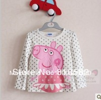Free shipping children clothing girl peppa pig glitter top gold dot long sleeved T shirt children Tee tops