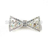 New free shipping 6pcs lot 4x25mm silver AB rhinestone bow charm pet hairclip ornament jewelry