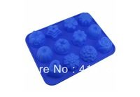 Retail Drop Shipping  Flower Shape Muffin Case Candy Jelly Ice cake Silicone Mould Mold Baking Pan Tray,Mini order 1PC WH12