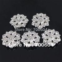 3CM high quality fashion flower shape shank wedding garment button,silver  metal alloy clear rhinestone  beads