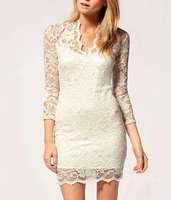 Free Shipping,High Quality Women White Elegant Vintage 3/4 Sleeve Lace Slim V-neck Cocktail Party Mini Dress,Hot Selling Dress
